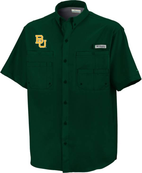Columbia Baylor Bears Green Button-Down Performance Short Sleeve Shirt product image