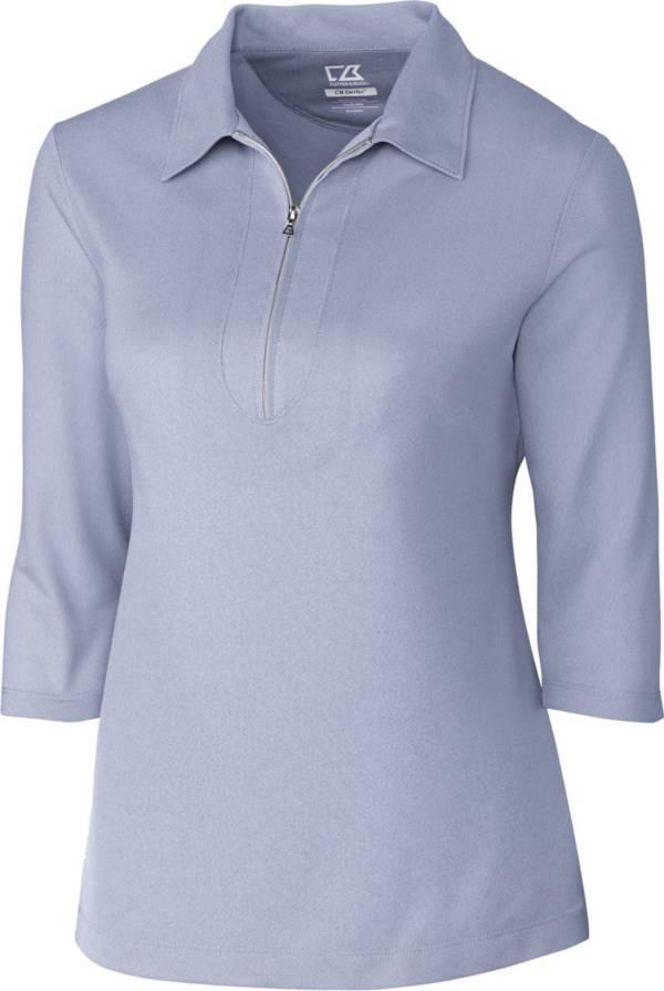 Cutter & Buck Women's Blaine Oxford Three-Quarter Sleeve Zip Golf Polo product image