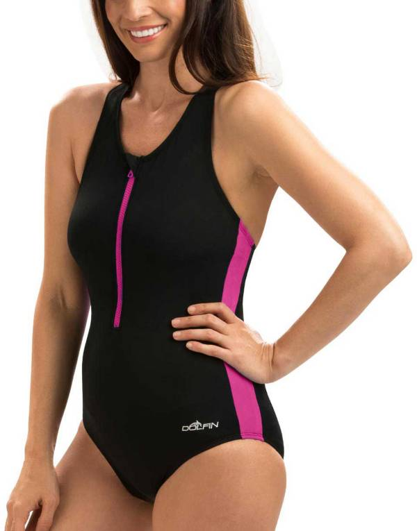 Dolfin Women's Zip-Front Racerback Swimsuit product image