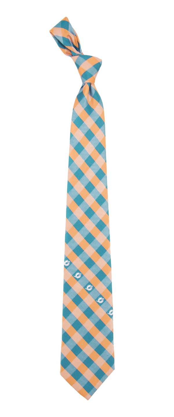 Eagles Wings Miami Dolphins Checkered Necktie product image