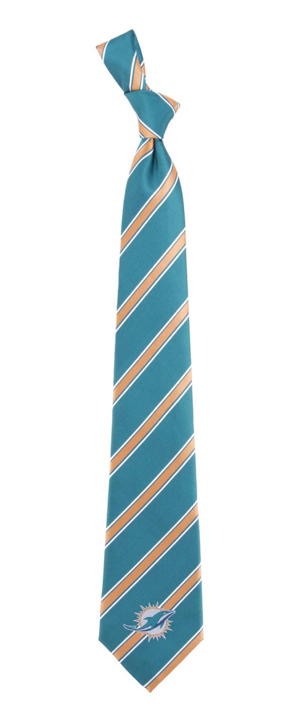 Eagles Wings Miami Dolphins Striped Polyester Necktie product image