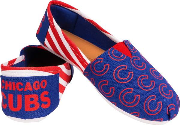 FOCO Women's Chicago Cubs Stripe Canvas Shoes product image