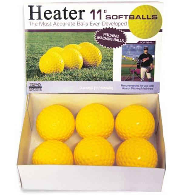 "Heater 11"" Yellow Dimpled Pitching Machine Softballs product image"