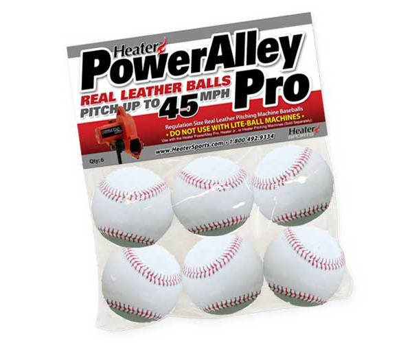 Heater PowerAlley Pro Leather Pitching Machine Baseballs - 6 Pack product image