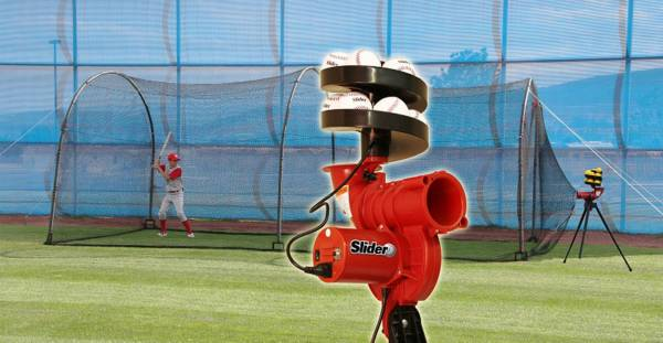 Heater Slider Lite-Ball Pitching Machine & Xtender 24' Batting Cage product image