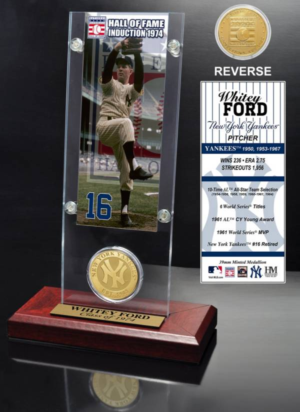 Highland Mint Whitey Ford New York Yankees Hall of Fame Ticket and Bronze Coin Acrylic Desktop Display product image