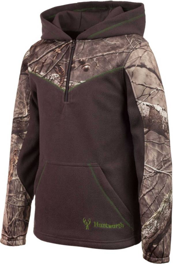 Huntworth Youth Two-Toned Quarter-Zip Fleece Hoodie product image