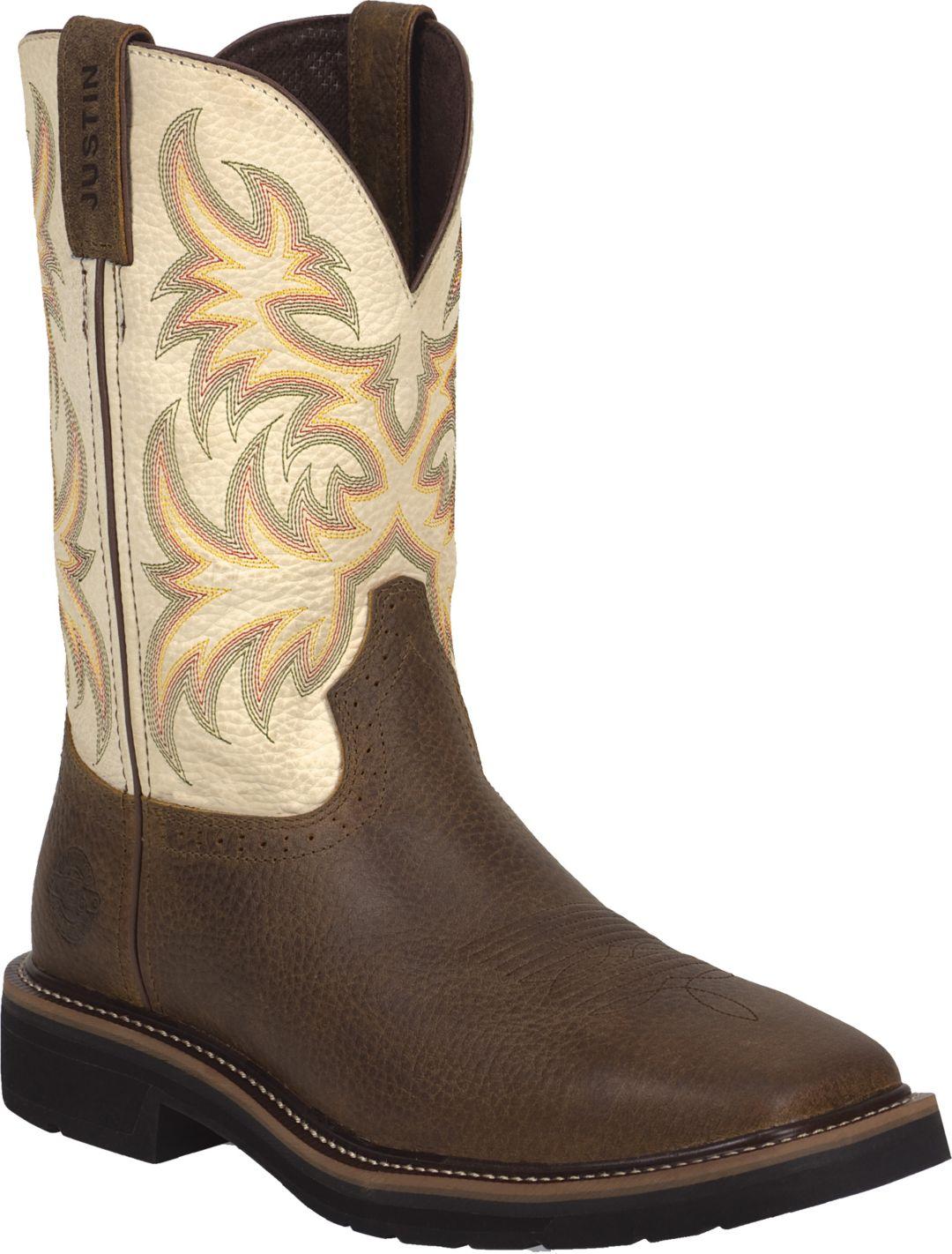 dcd3e0c8ca01a Justin Men's Stampede Square Toe EH Work Boots