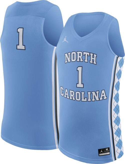 watch 8be51 1b2c4 Jordan Men s North Carolina Tar Heels  1 Carolina Blue Replica Basketball  Jersey. noImageFound. Previous