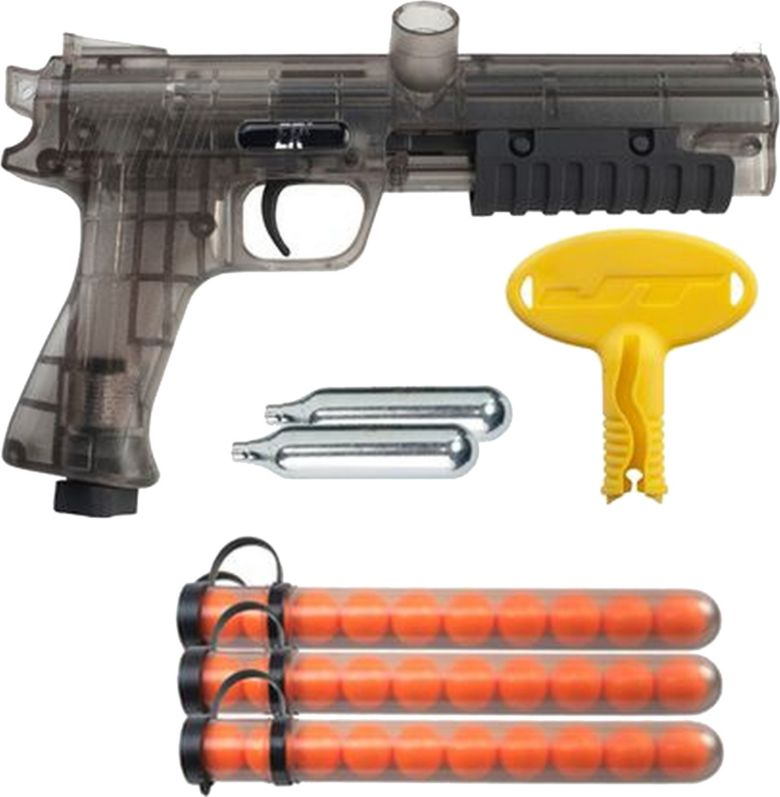 Paintball gun and orange pellets