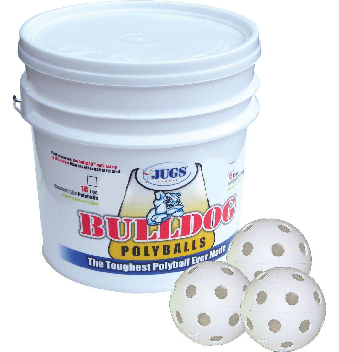 Jugs Bulldog White Poly Training Baseballs - Bucket of 18