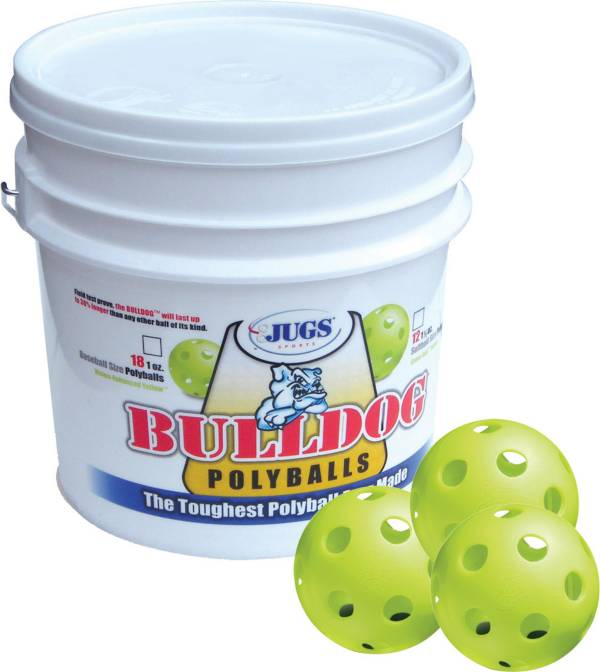 Jugs Bulldog Yellow Poly Training Baseballs - Bucket of 18 product image