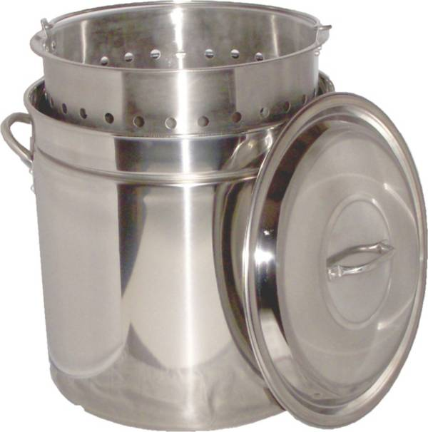 King Kooker 102 Quart Stainless Steel Boiling Pot with Steam Rim product image