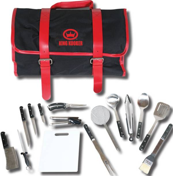 King Kooker 16 Piece Utensil Set with Black/Red Carrying Case product image
