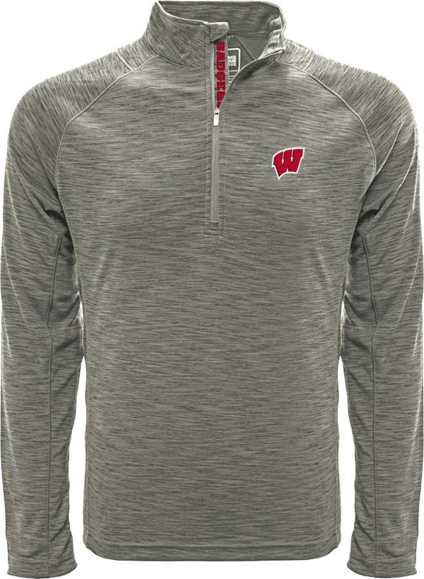 Levelwear Men's Wisconsin Badgers Grey Mobility Long Sleeve Quarter-Zip Pullover Shirt product image
