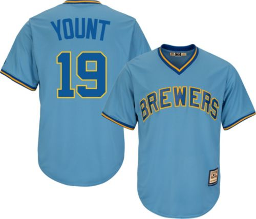 530a916f5 Majestic Men s Replica Milwaukee Brewers Robin Yount Cool Base Light Blue  Cooperstown Jersey. noImageFound. Previous