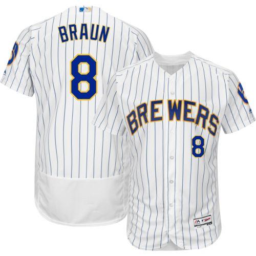 67f145ef3 Majestic Men s Authentic Milwaukee Brewers Ryan Braun  8 Alternate White  Flex Base On-Field Jersey. noImageFound. 1