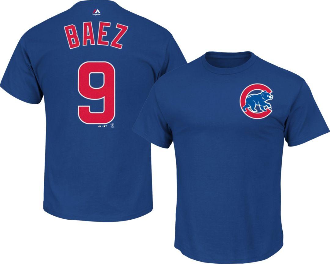 quality design 5cebf c8424 Majestic Men's Chicago Cubs Javier Baez #9 Royal T-Shirt