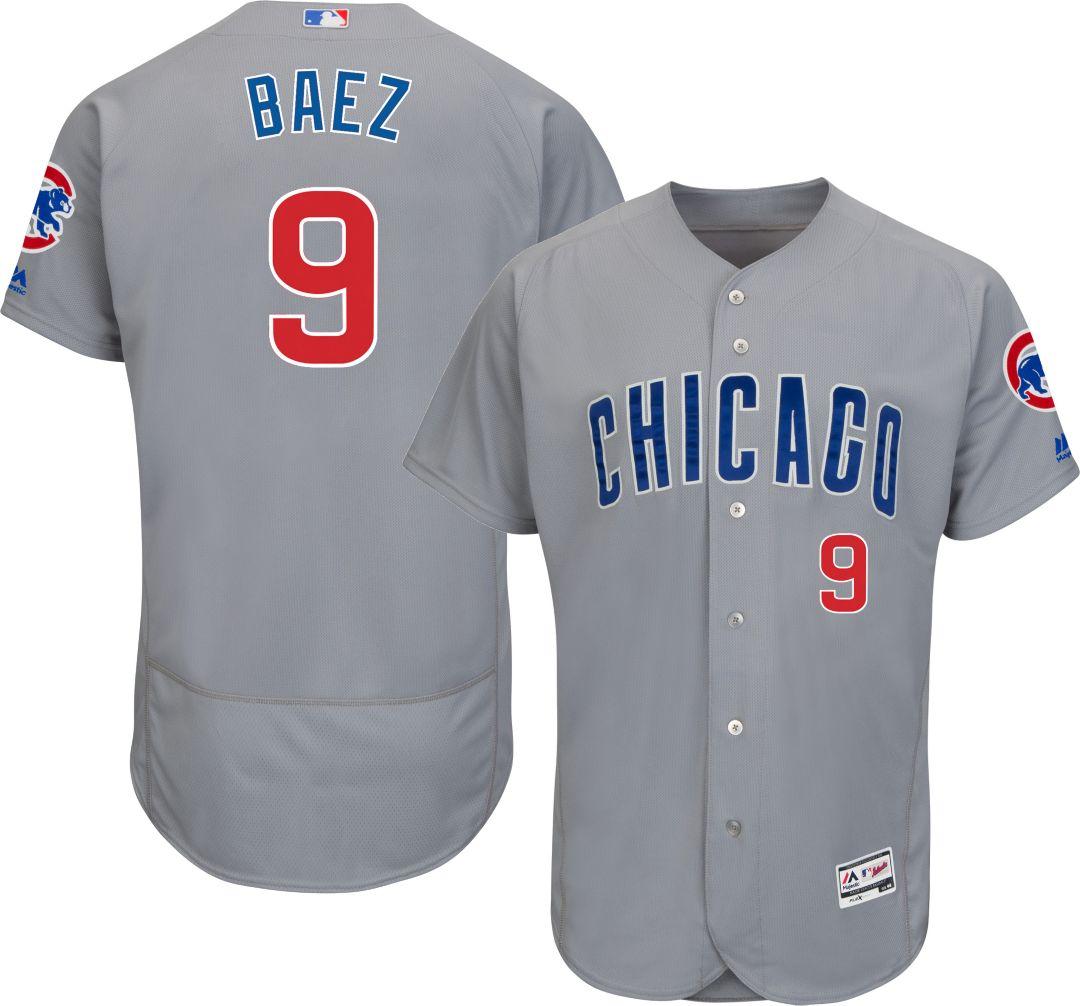 c19e6618 Majestic Men's Authentic Chicago Cubs Javier Baez #9 Road Grey Flex Base  On-Field Jersey