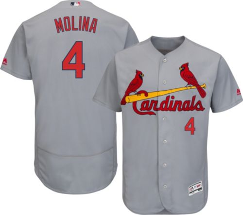 74af0d084 Majestic Men s Authentic St. Louis Cardinals Yadier Molina  4 Road Grey  Flex Base On-Field Jersey. noImageFound. Previous