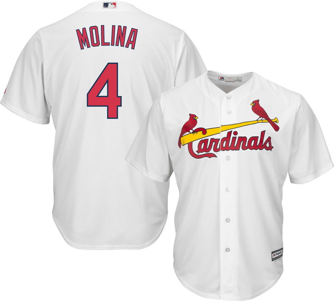 check out 750e8 ff5c3 Majestic Men's Replica St. Louis Cardinals Yadier Molina #4 Cool Base Home  White Jersey