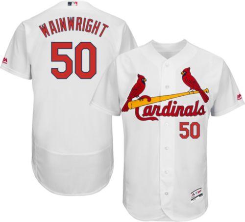 e1b26ecc216 Majestic Men s Authentic St. Louis Cardinals Adam Wainwright  50 Home White  Flex Base On-Field Jersey. noImageFound. Previous. 1. 2