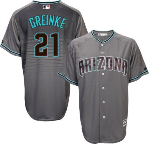 Majestic Men s Replica Arizona Diamondbacks Zack Greinke  21 Cool Base  Alternate Road Grey Jersey. noImageFound. Previous c0c7c1f68