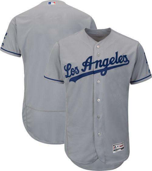 Majestic Men s Authentic Los Angeles Dodgers Road Grey Flex Base On-Field  Jersey. noImageFound. Previous 1c724e2ea