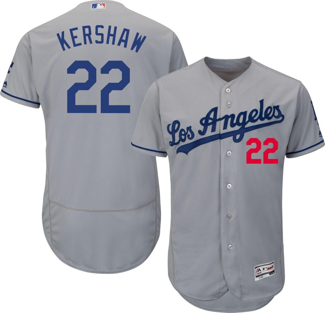 3bef8e7a Majestic Men's Authentic Los Angeles Dodgers Clayton Kershaw #22 Road Grey  Flex Base On-Field Jersey