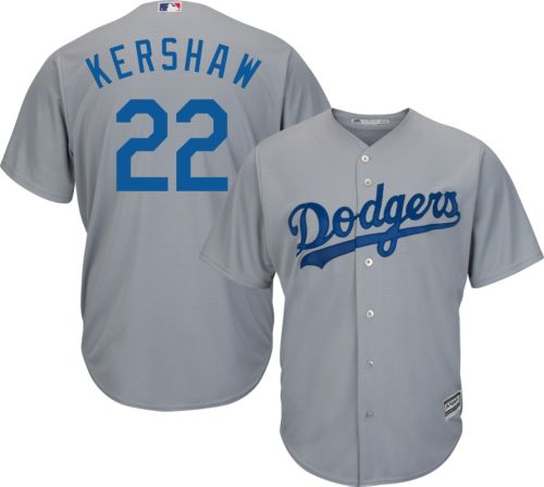 340c772f7 Majestic Men s Replica Los Angeles Dodgers Clayton Kershaw  22 Cool Base  Alternate Road Grey Jersey. noImageFound. Previous