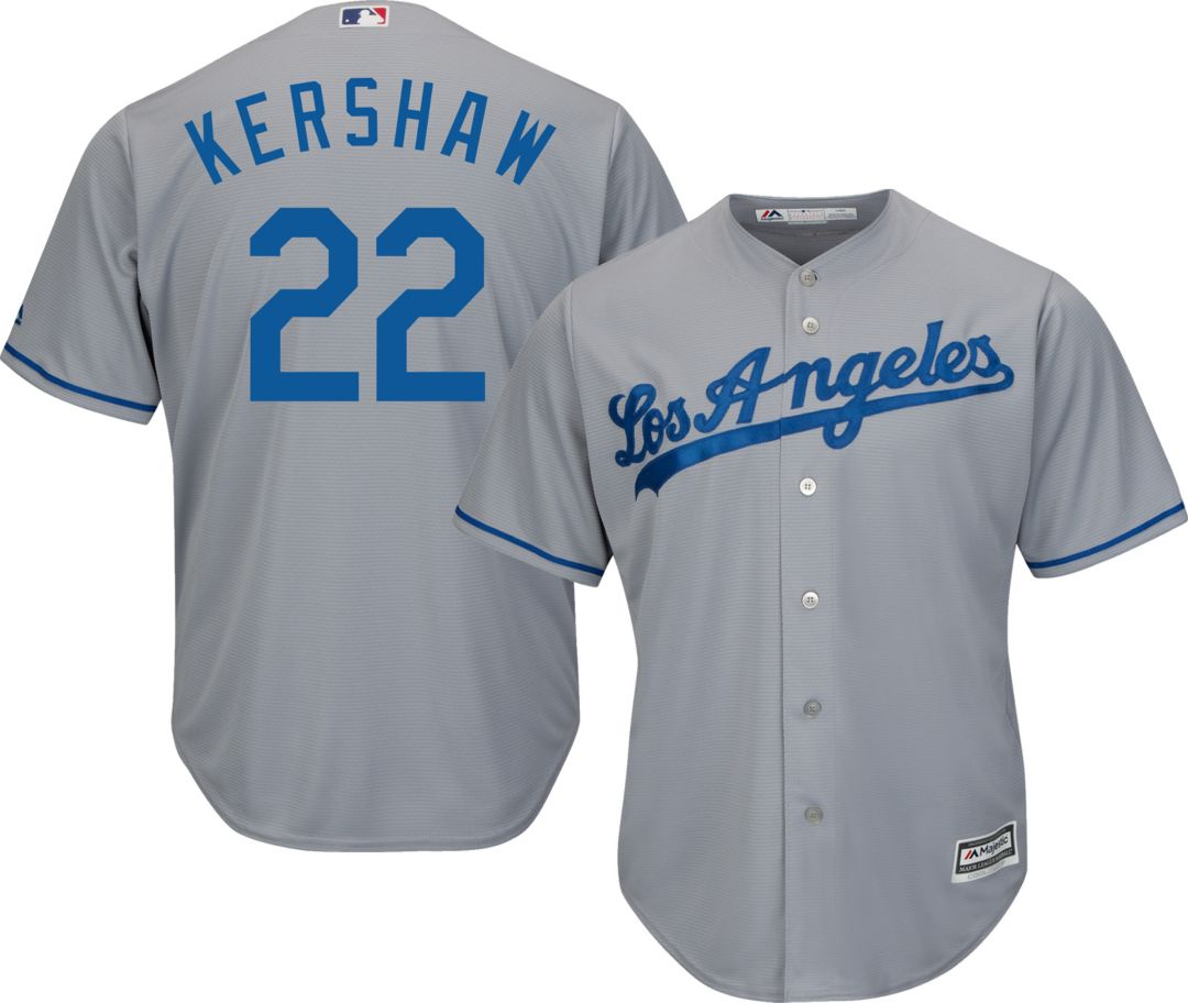 timeless design eef48 f038e Majestic Men's Replica Los Angeles Dodgers Clayton Kershaw #22 Cool Base  Road Grey Jersey
