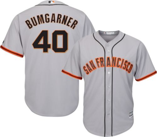 191b1157823 Majestic Men s Replica San Francisco Giants Madison Bumgarner  40 Cool Base  Road Grey Jersey. noImageFound. Previous