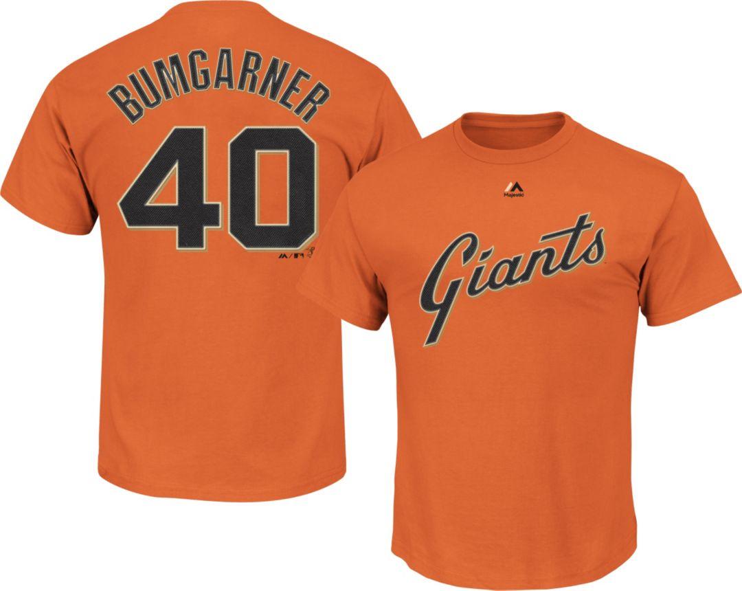 best service 231b0 b2e3b Majestic Men's San Francisco Giants Madison Bumgarner #40 Orange T-Shirt