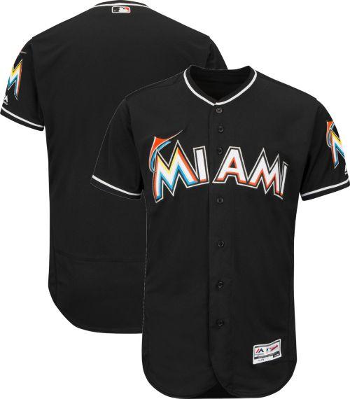 f06b2bbef Majestic Men s Authentic Miami Marlins Alternate Black Flex Base On-Field  Jersey. noImageFound. Previous
