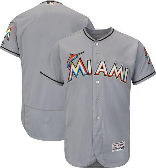58bb15edd Majestic Men s Authentic Miami Marlins Road Grey Flex Base On-Field Jersey.  noImageFound. Previous