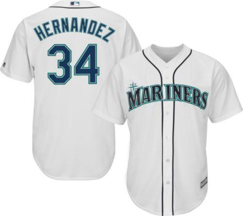 69f4310f0 Majestic Men s Replica Seattle Mariners Felix Hernandez  34 Cool Base Home  White Jersey