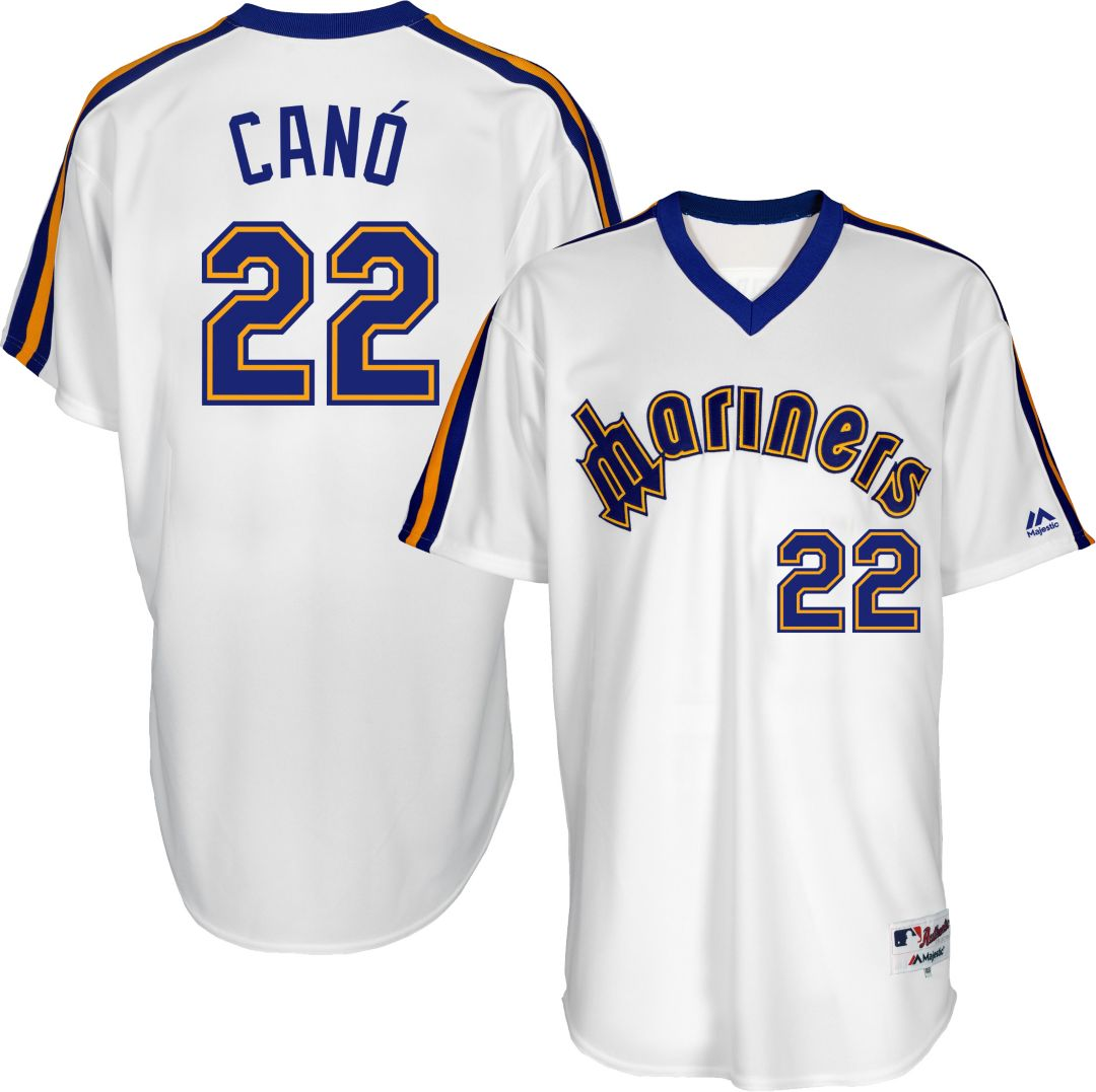 sports shoes a8e03 cbe46 Majestic Men's Seattle Mariners Robinson Cano #22 White Turn Back The Clock  Authentic Flex Base Jersey