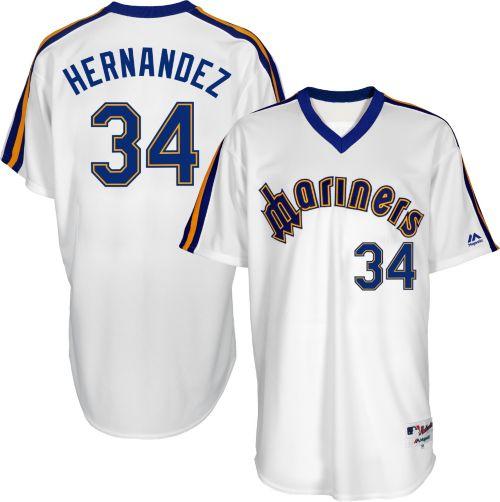06703ca5082 Majestic Men's Seattle Mariners Felix Hernandez #34 White Turn Back The  Clock Authentic Flex Base Jersey. noImageFound. Previous