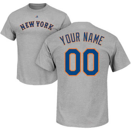 eb67c3b35 Majestic Men s Custom New York Mets Grey T-Shirt