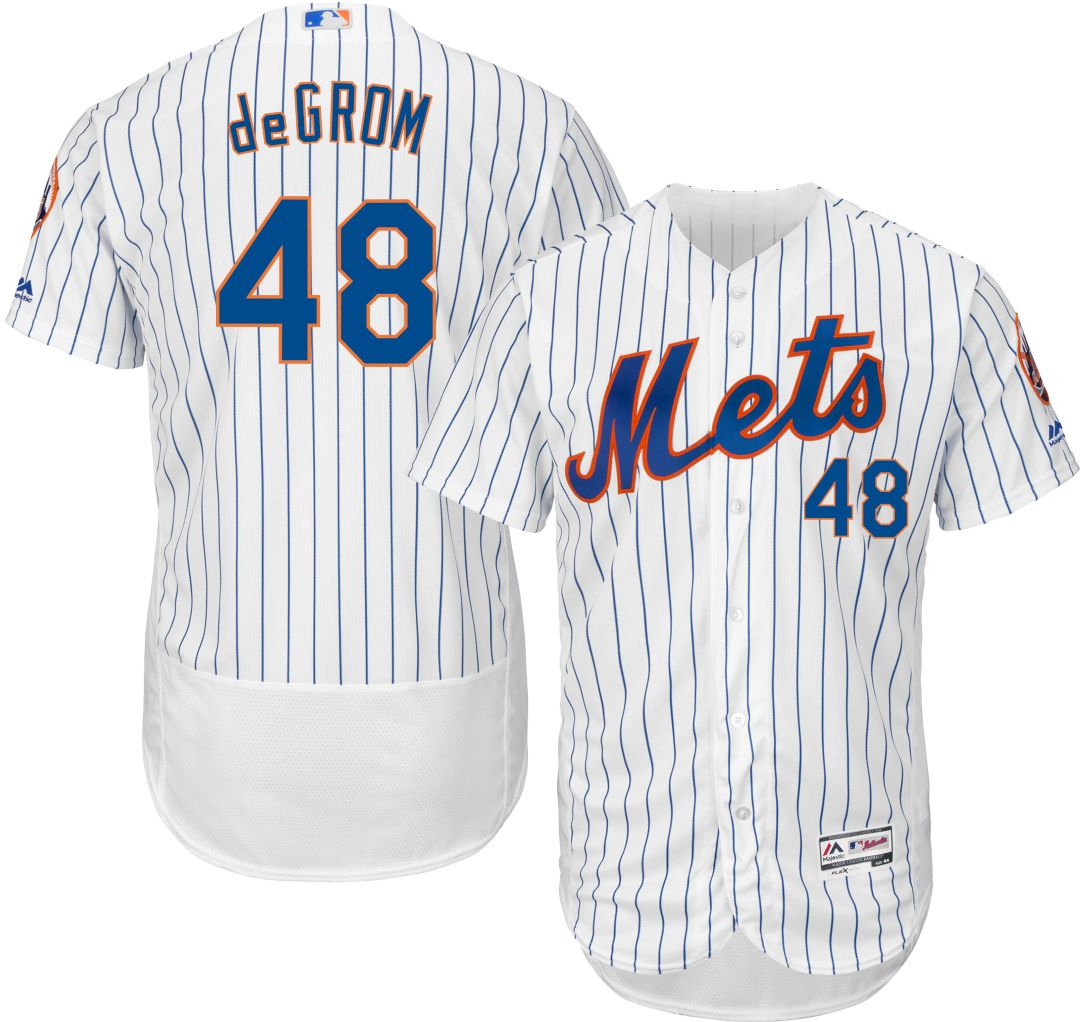 514898aa Majestic Men's Authentic New York Mets Jacob deGrom #48 Home White Flex Base  On-Field Jersey. noImageFound. Previous