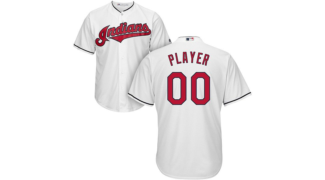 pretty nice 4f769 494a1 Majestic Men's Full Roster Cool Base Replica Cleveland Indians Home White  Jersey