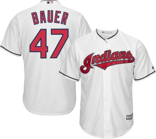 914a060e8 Majestic Men s Replica Cleveland Indians Trevor Bauer  47 Cool Base Home  White Jersey. noImageFound. Previous