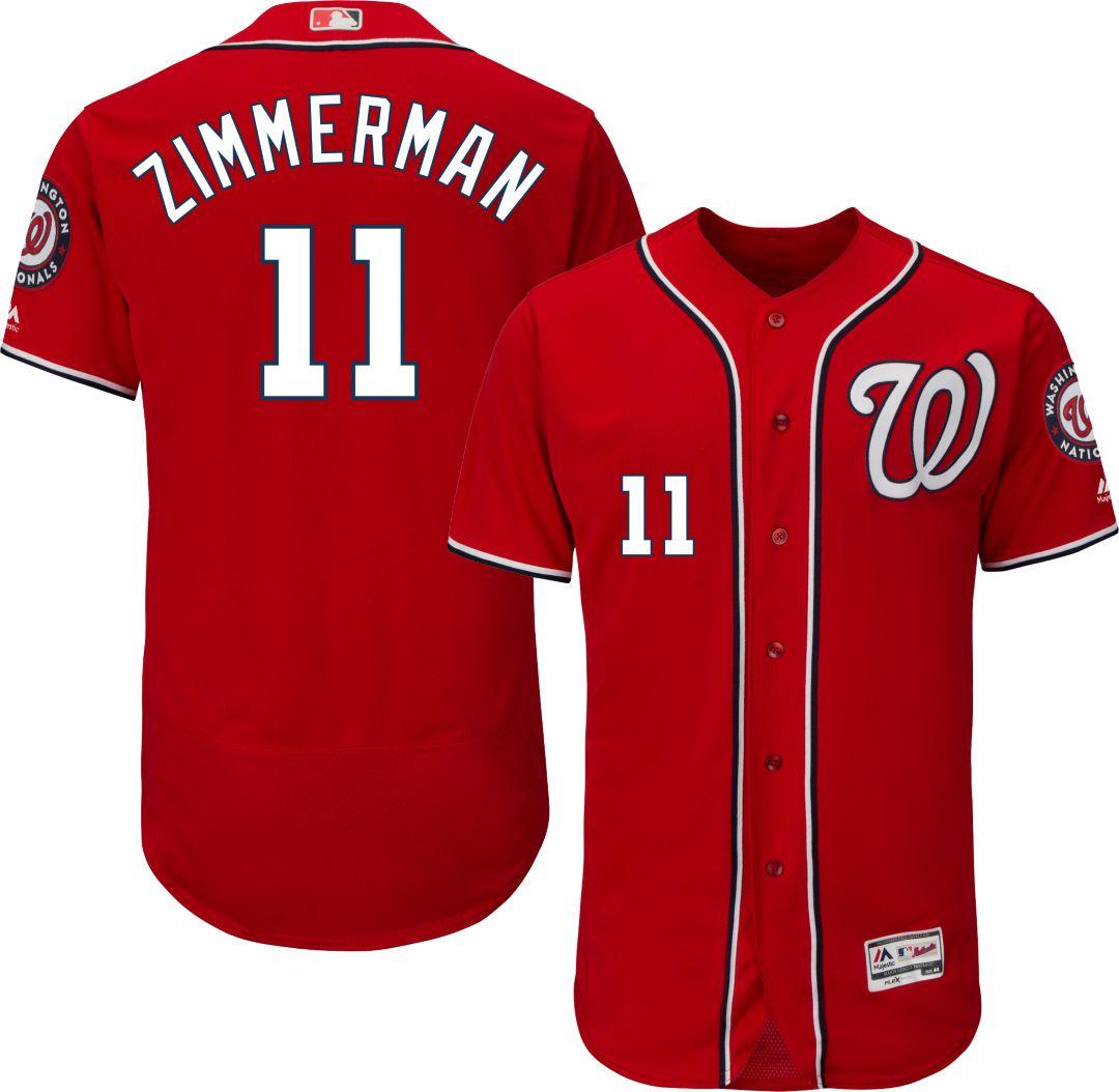 buy popular 4ea06 27680 Majestic Men's Authentic Washington Nationals Ryan Zimmerman #11 Alternate  Red Flex Base On-Field Jersey
