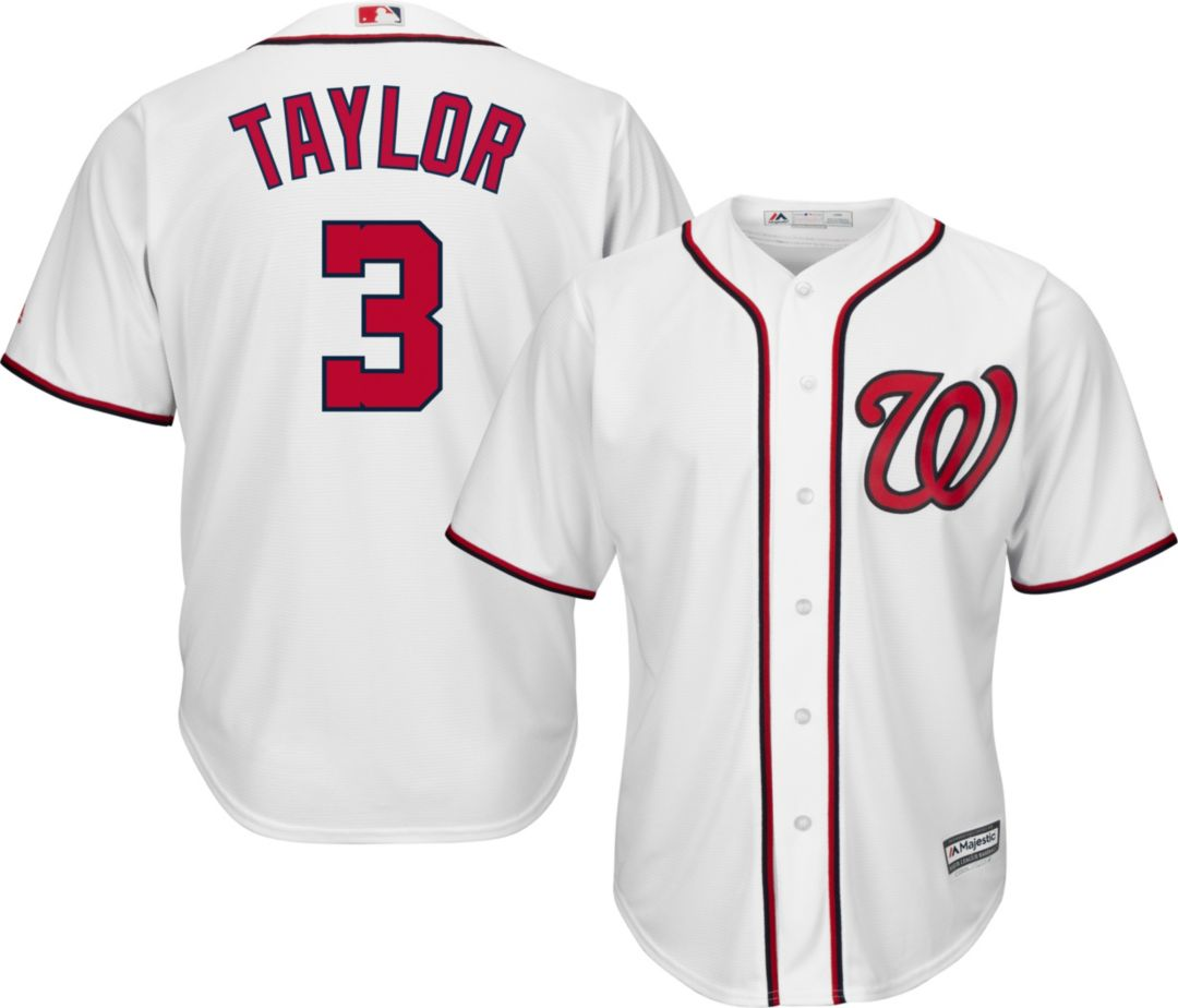 497287ce Majestic Men's Replica Washington Nationals Michael Taylor #3 Cool Base  Home White Jersey