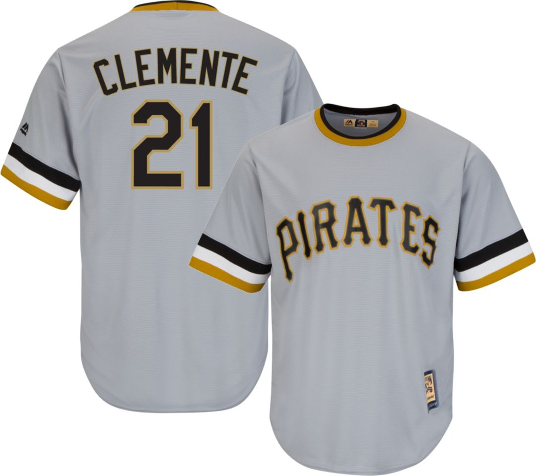 super popular f8564 f5950 Majestic Men's Replica Pittsburgh Pirates Roberto Clemente Cool Base Grey  Cooperstown Jersey