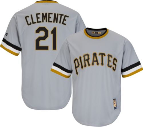 Majestic Men s Replica Pittsburgh Pirates Roberto Clemente Cool Base Grey  Cooperstown Jersey. noImageFound. Previous b7c9450ce
