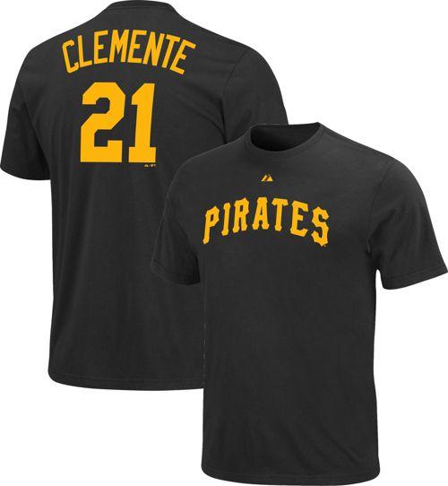 d64f85a2 Majestic Men's Pittsburgh Pirates Roberto Clemente #21 Black T-Shirt ...