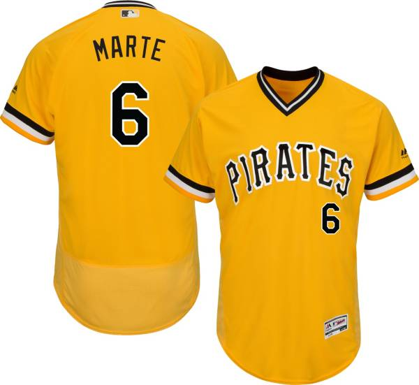 Majestic Men's Authentic Pittsburgh Pirates Starling Marte #6 Alternate Gold Flex Base On-Field Jersey product image