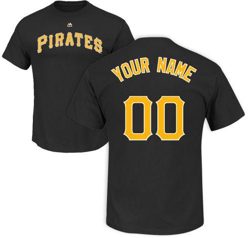 d812199a9 Majestic Men s Custom Pittsburgh Pirates Black T-Shirt