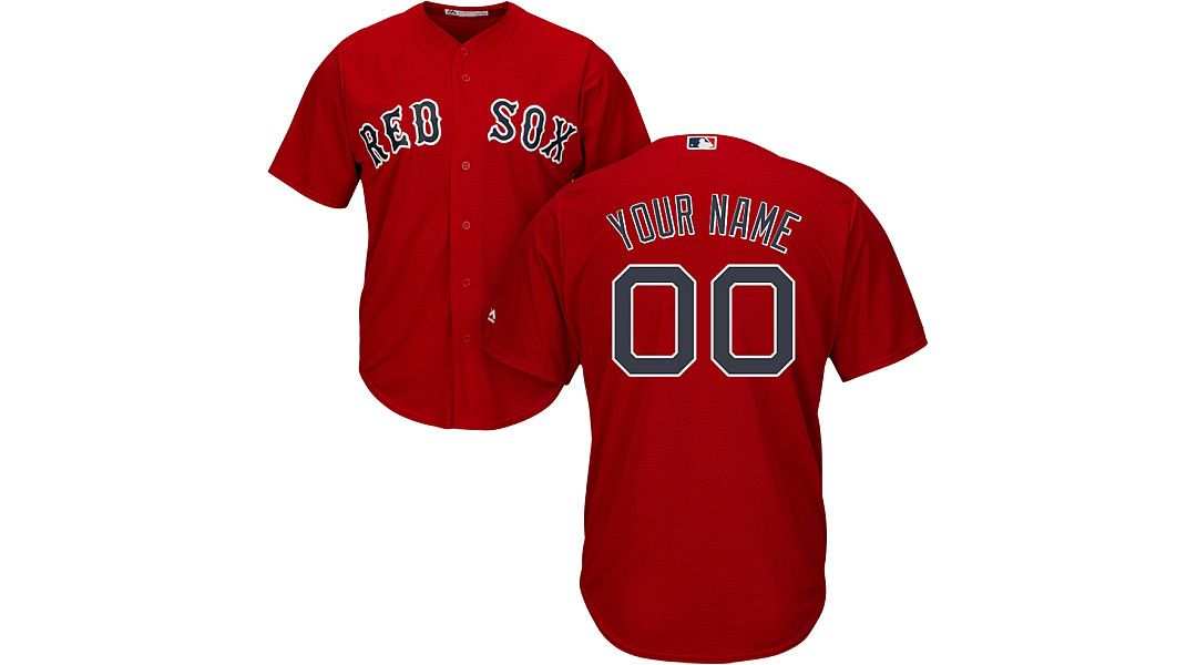 3e0a565ba07c2 Majestic Men's Custom Cool Base Replica Boston Red Sox Alternate Red ...